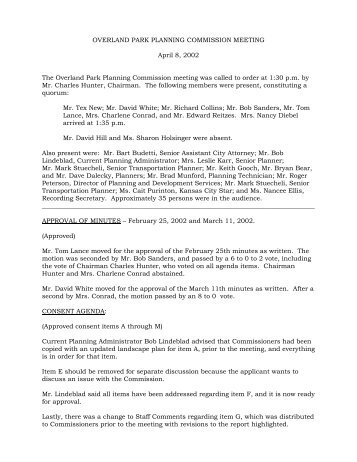 Planning Commission Meeting (April 8, 2002) - City of Overland Park