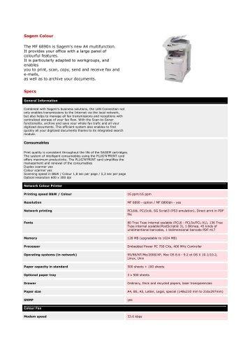 Sagem Colour The MF 6890n is Sagem's new A4 multifunction. It ...