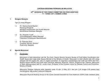 laporan bersama perwakilan malaysia - Food Safety and Quality ...
