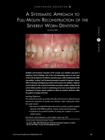a systematic approach to full-mouth reconstruction of the severely ...
