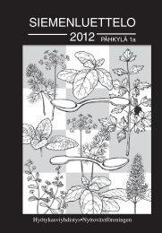 siemenluettelo 2012.indd - Hyötykasviyhdistys