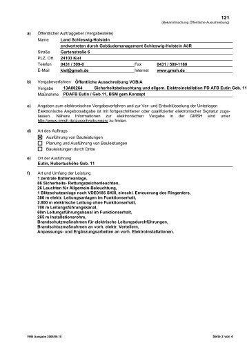 a) Öffentlicher Auftraggeber (Vergabestelle) - Ausschreibungen ...