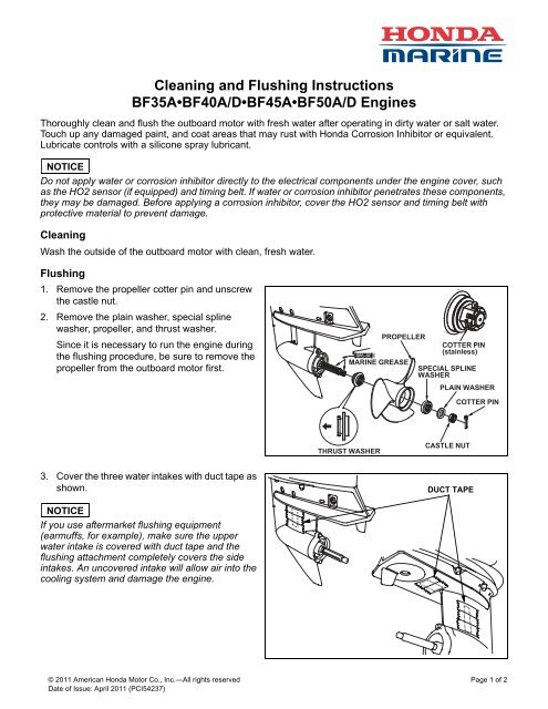 Cleaning And Flushing Instructions Bf35abf40ad Honda Marine