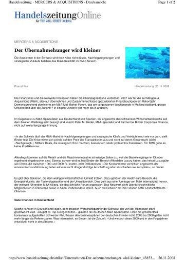 Handelszeitung 25.11.2008 - binder.ch
