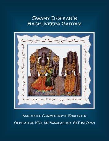 Swamy Desikan's Raghuveera Gadyam - Ibiblio