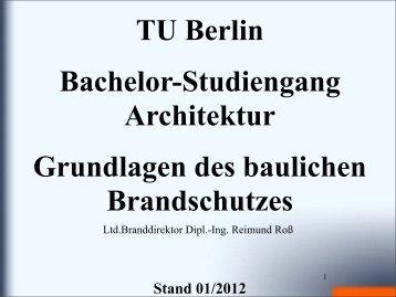 Brandschutz als Teil des Sicherheitskonzeptes - ADIP - TU Berlin