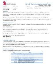 HSC 110: : The Mul ltidiscipli inary Hea alth Team m - University of ...
