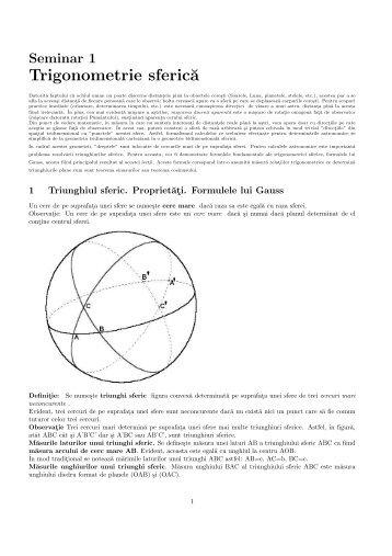 Trigonometrie sferic˘a