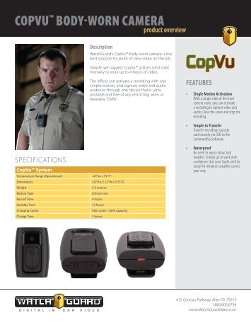 Copvu™ body-worn Camera - WatchGuard Video