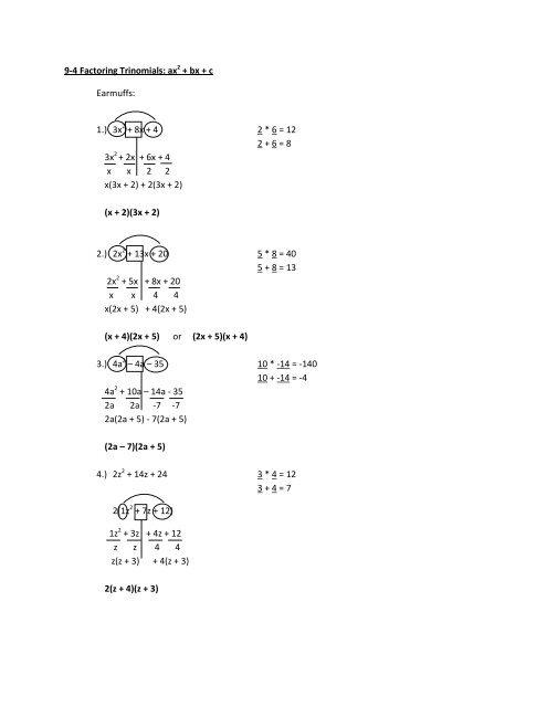 9 4 Factoring Trinomials Ax2 Bx C Earmuffs 1 3x2 8x 4