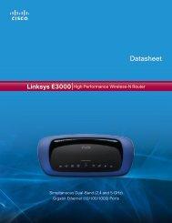 Linksys E3000 Datasheet - SysNet Center