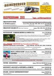 Busprogramm 2013 - Reinsberger Reisen GMBH