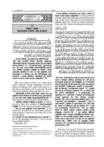 tefsir sure Nuh - Islamska zajednica u Hrvatskoj