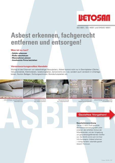 Bevorzugt Asbest erkennen, fachgerecht entfernen und entsorgen! - Betosan AG HR58