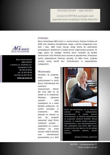 SUCCESS STORY – A&G INVEST Comarch OPT!MA ... - Alpol