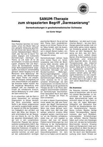 """SANUM-Therapie zum strapazierten Begriff """"Darmsanierung"""""""