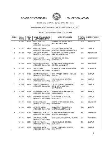 BOARD OF SECONDARY EDUCATION, ASSAM - SEBA