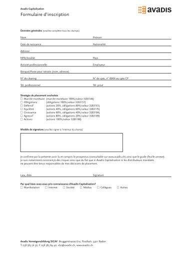 Formulaire d'inscription - Avadis