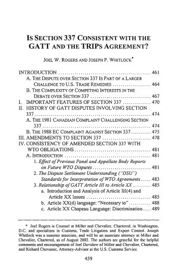 Gatt 1994 is section 337 consistent with the gatt and the trips agreement platinumwayz
