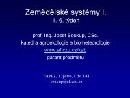 Přednáška č.2: Zemědělské soustavy, střídání plodin