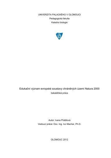 Edukační význam evropské soustavy chráněných území ... - Theses