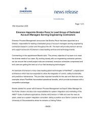 Emerson Appoints Branko Pecar to Lead Group of Dedicated ...