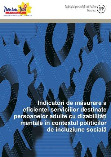 Indicatori de măsurare a eficienţei serviciilor destinate persoanelor ...