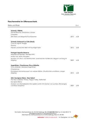 Flaschenweine im Offenausschank - welcome hotels & restaurants