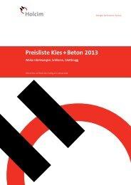Preisliste Kies + Beton 2013 - Holcim