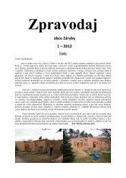 Zpravodaj obce Záryby 1 - 2012