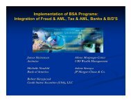 Implementation of BSA Programs: Integration of ... - Events - sifma
