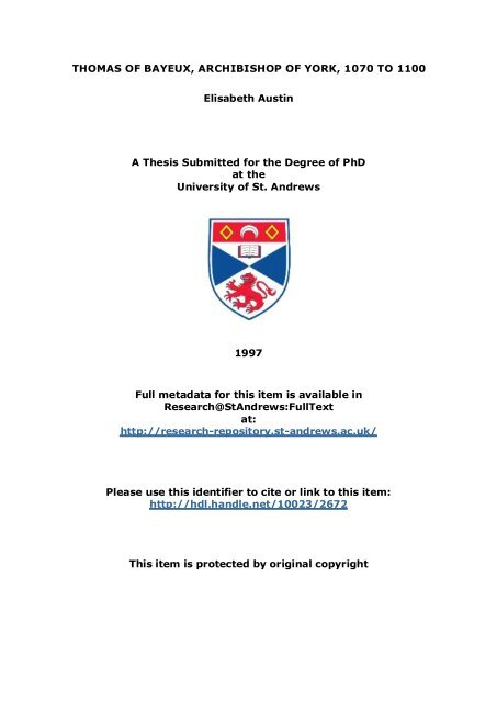Elisabeth Austin PhD Thesis - University of St Andrews