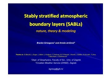 Stably stratified atmospheric boundary layers (SABLs) - HMD