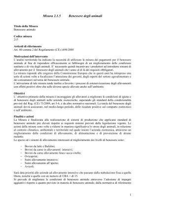 Scarica la scheda della Misura 215 con le Tabelle ... - PSR Calabria