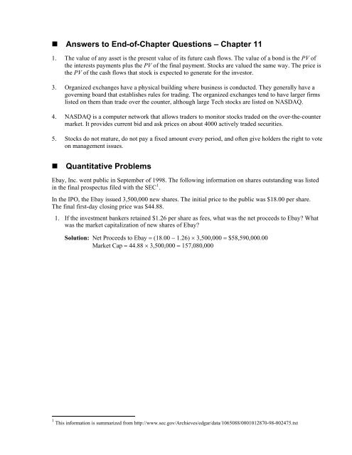 Answers To End Of Chapter Questions Chapter 11 Quantitative