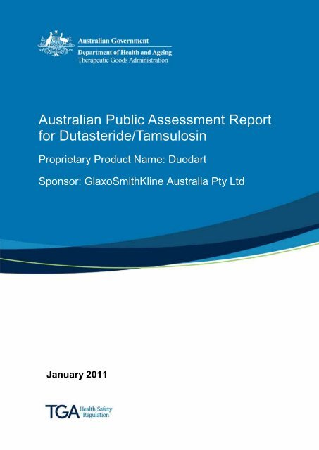 Australian Public Assessment Report For Dutasteride Tamsulosin