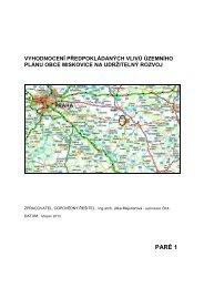 Vyhodnocení předpokládaných vlivů ÚP na udržitelný rozvoj
