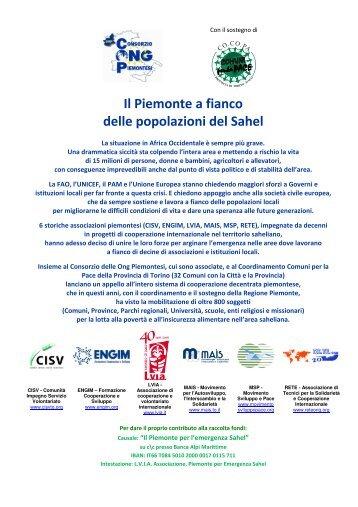 Il Piemonte a fianco delle popolazioni del Sahel - DOSSIER - Cisv