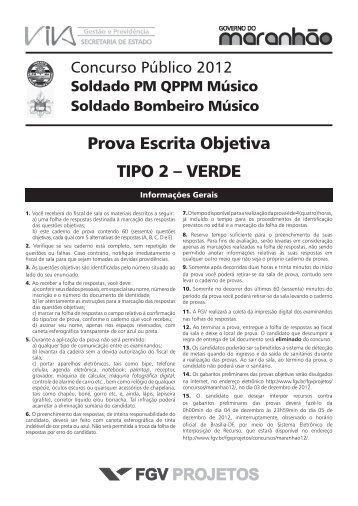 Prova Escrita Objetiva TIPO 2 – VERDE - FGV Projetos