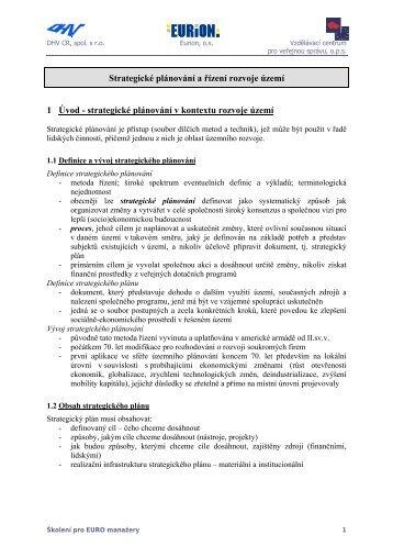 Strategické plánování a řízení rozvoje území - Pro kraj