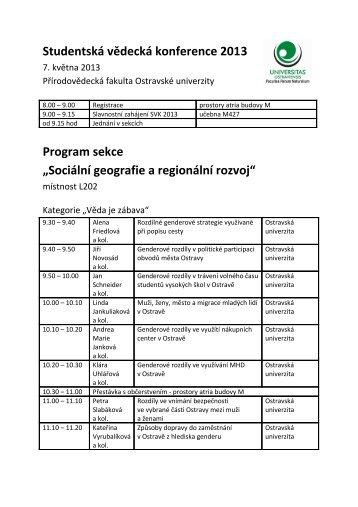 Sociální geografie a regionální rozvoj - Ostravská univerzita v Ostravě