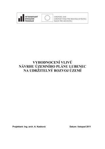 VYHODNOCENÍ VLIVŮ NÁVRHU ÚZEMNÍHO ... - Obec Lubenec