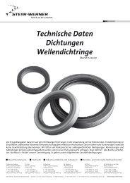 Technische Daten Dichtungen Wellendichtringe - Steyr-Werner