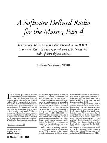 A Software Defined Radio for the Masses, Part 4 - ARRL
