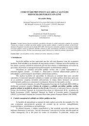 cercetai privind evaluarea calitatii serviciilor publice on-line
