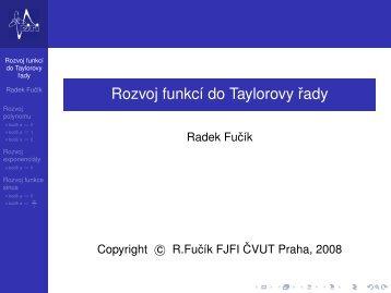 Rozvoj funkcí do Taylorovy rady