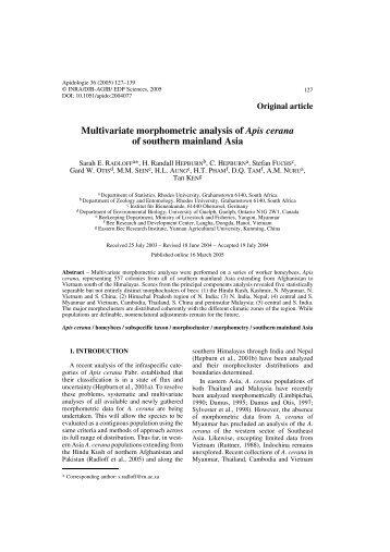 Multivariate morphometric analysis of Apis cerana of southern ...