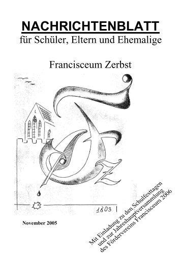 NACHRICHTENBLATT - Förderverein Francisceum Zerbst e. V.