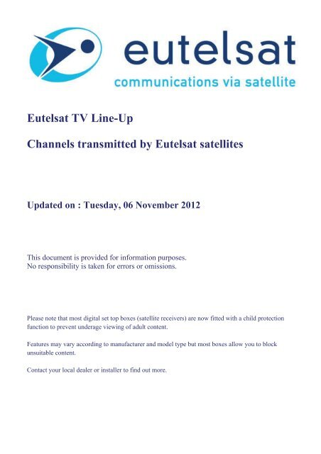 Eutelsat TV Line-Up Channels transmitted by Eutelsat satellites