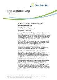 Nordzucker veröffentlicht konzernweiten Nachhaltigkeitsbericht